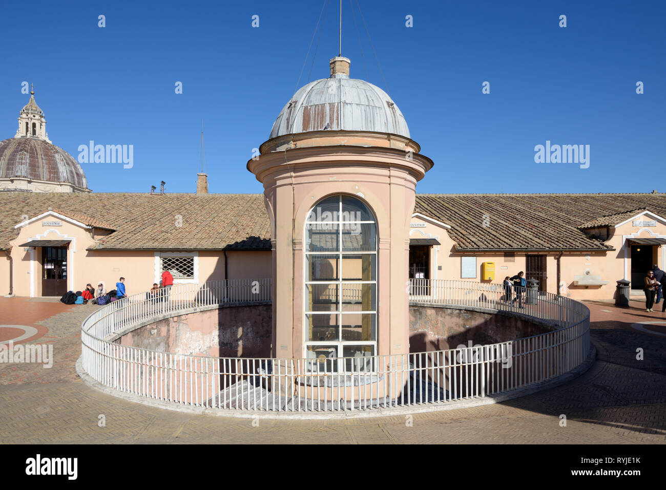 Cupola-shaped roof lantern, roof tower, roof cupola or skylights on the roof of Saint Peter's Basilica or Church Vatican Rome Italy - Stock Image