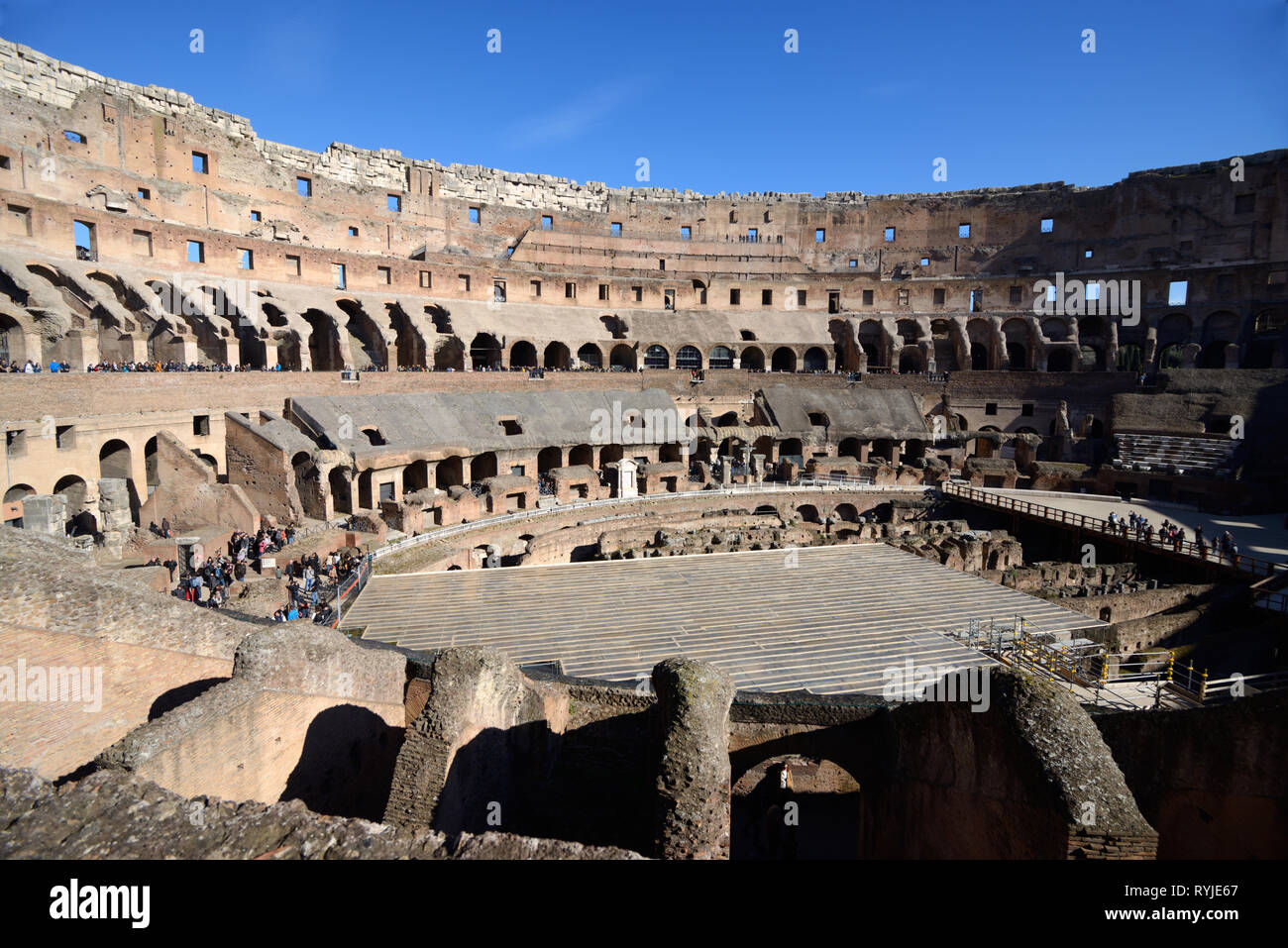 Interior or Inside of the Colosseum Amphitheatre, Coliseum, or Flavian Amphitheatre 70-80AD Rome Italy - Stock Image