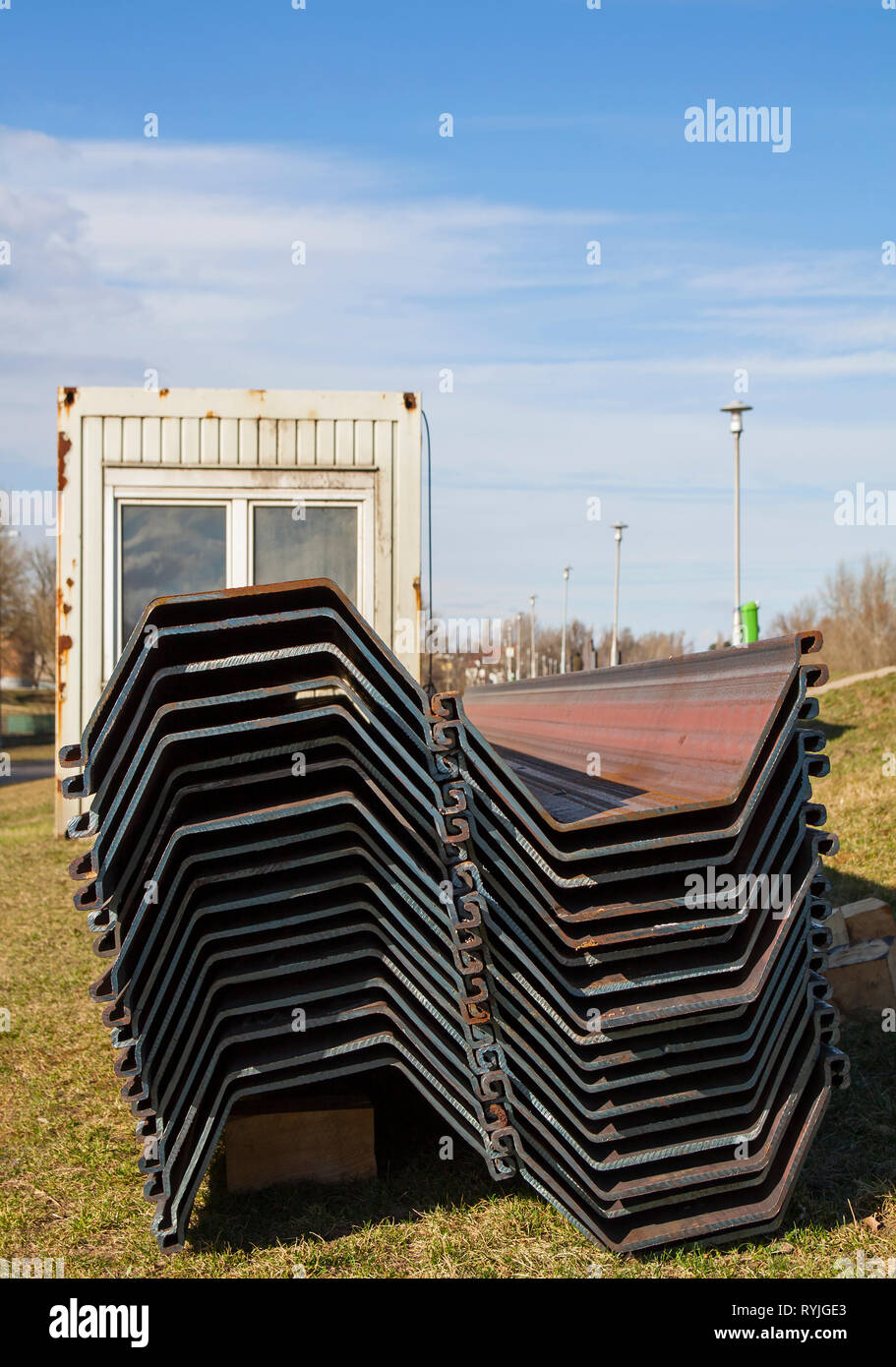 Steel construction pillars with specific shapes to stabilizes the flood protection dam Stock Photo