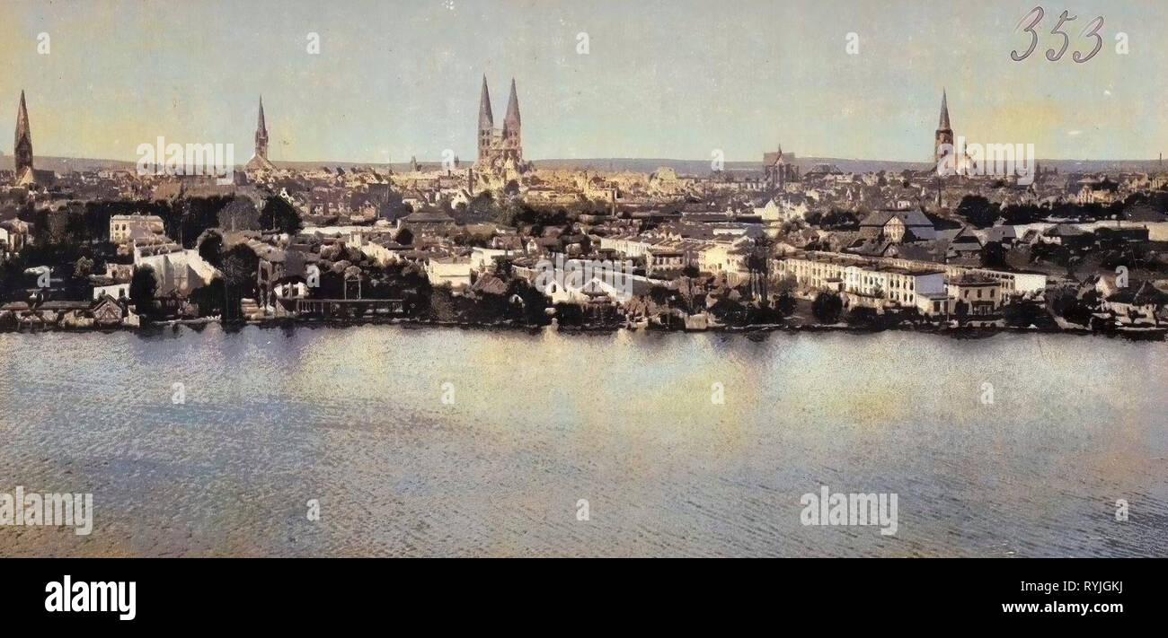 Views of Lübeck, Colored, Germany, 1898, Schleswig-Holstein, Deutsch-Nordische Handels- und Industrie-Ausstellung, Wakenitz, Lübeck, Totalansicht vom Ausstellungsturm - Stock Image