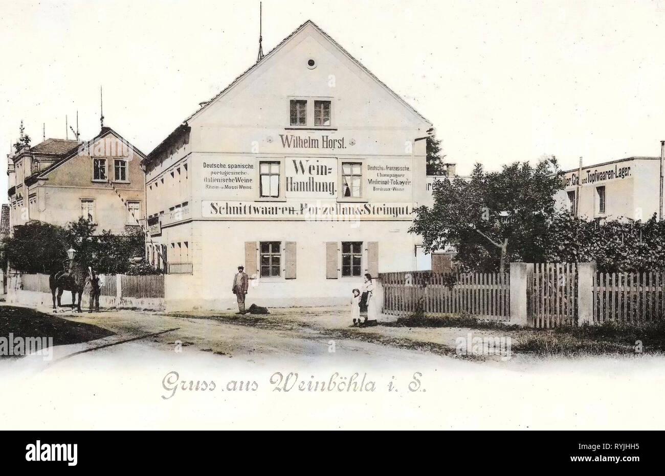 Wine trade, Horses of Landkreis Meißen, Buildings in Landkreis Meißen, Weinböhla, 1898, Landkreis Meißen, Weinhandlung Horst, Germany Stock Photo