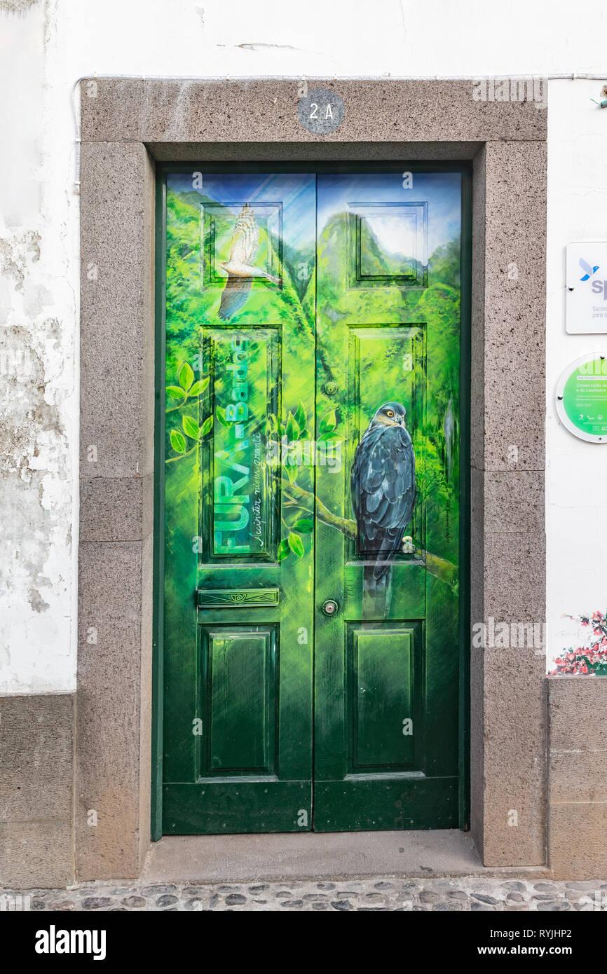 Colorful door of Funchal - Stock Image
