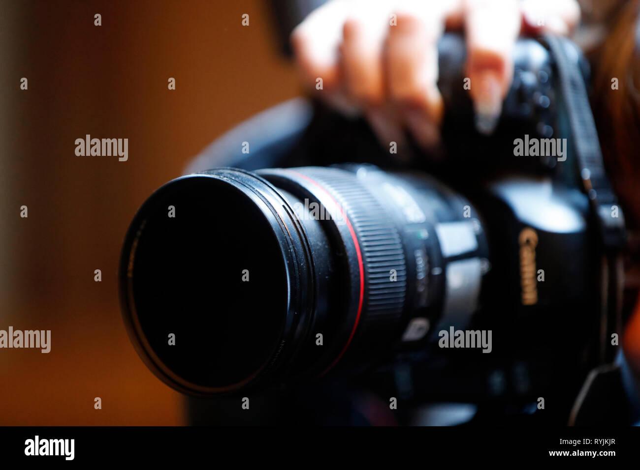 Canon photographer.  Vevey. Switzerland. - Stock Image