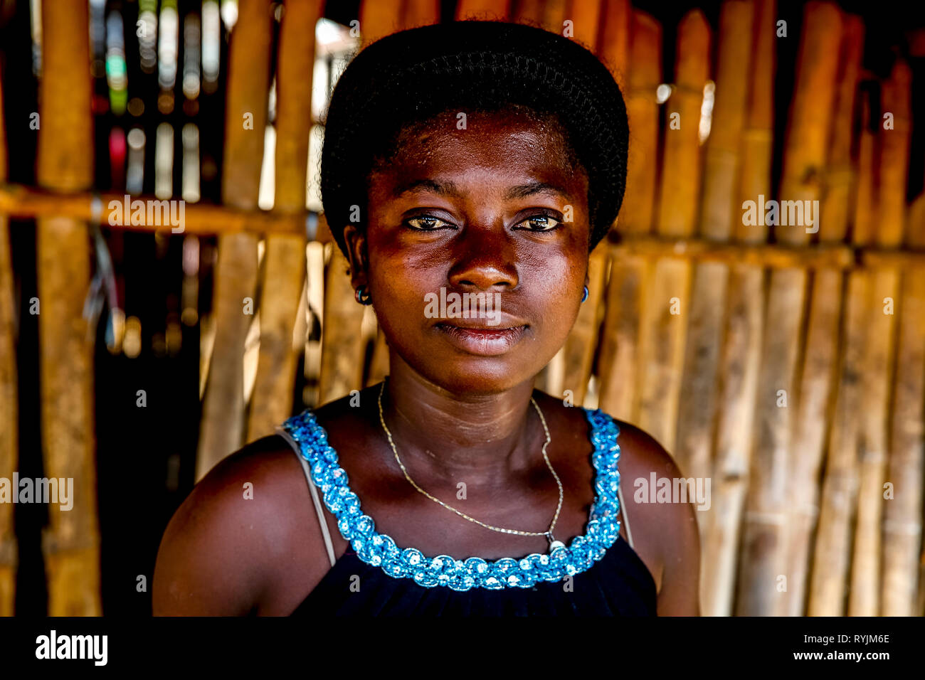Villager near Agboville, Ivory Coast. - Stock Image
