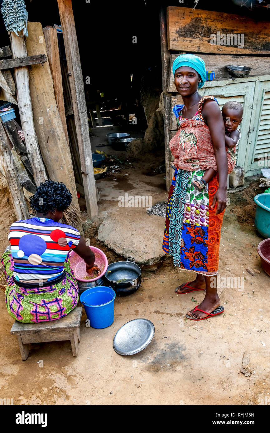 Villagers near Agboville, Ivory Coast. Stock Photo