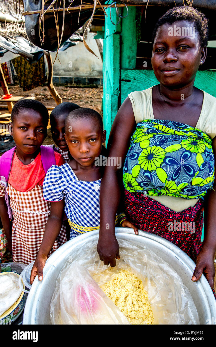 Young villagers near Agboville, Ivory Coast. Stock Photo