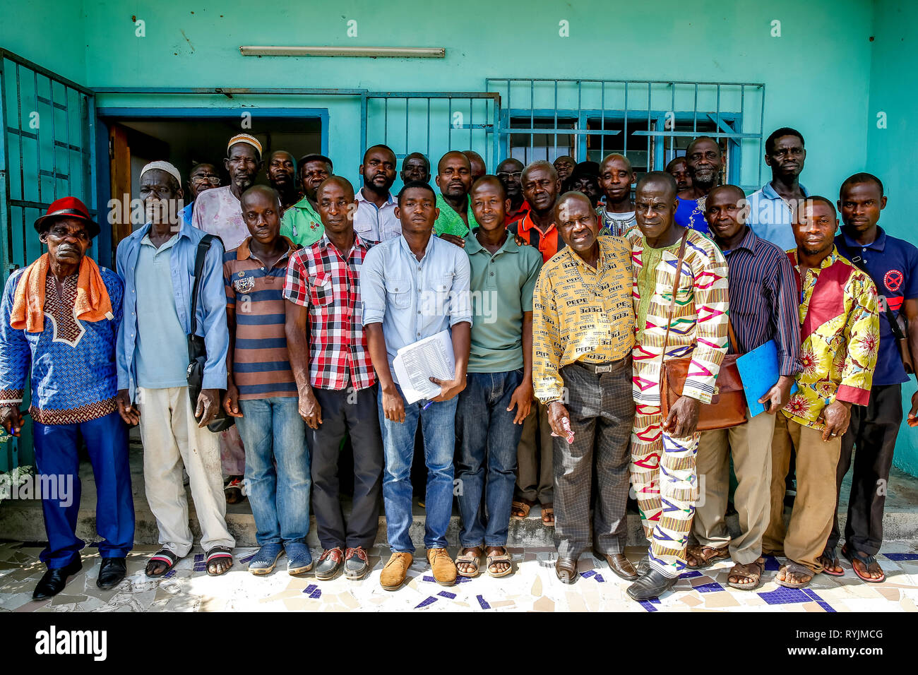 Cocoa planters' cooperative members in Agboville, Ivory Coast. Stock Photo