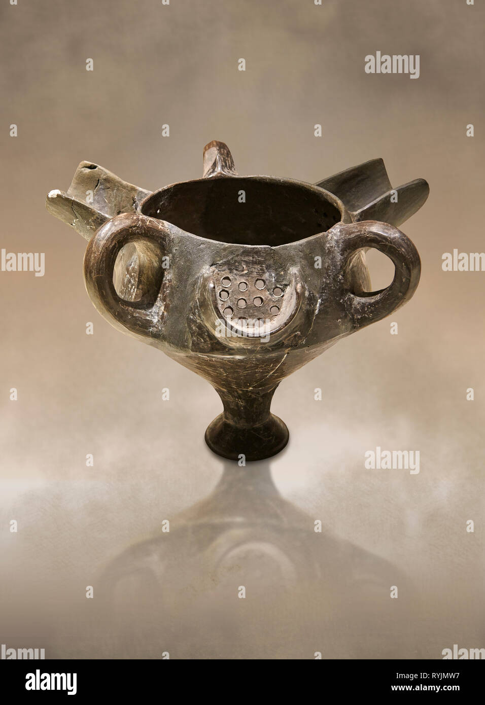 Bronze Age Anatolian terra cotta vessel with strainer - 19th to 17th century BC - Kültepe Kanesh - Museum of Anatolian Civilisations, Ankara, Turkey.  - Stock Image