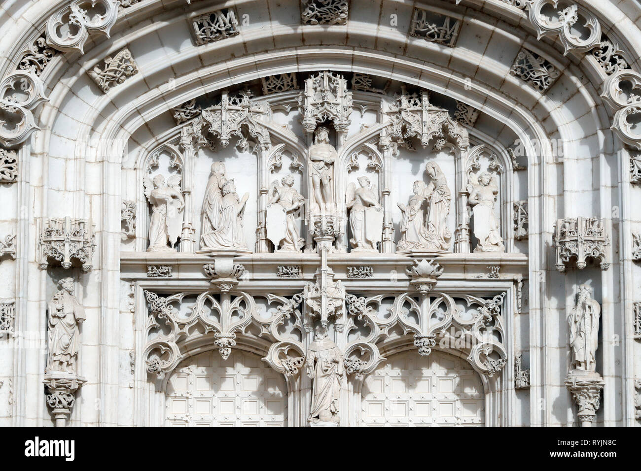 The royal monastery of Brou.  The church is a masterpiece of the Flamboyant Gothic style. Western portal. Bourg en Bresse. France. - Stock Image