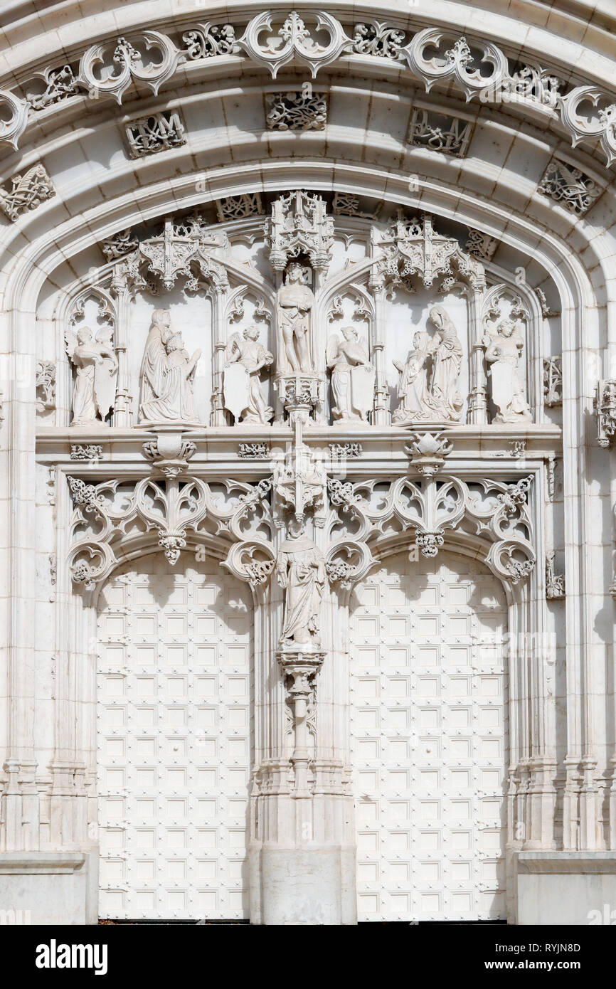 The royal monastery of Brou.  The church is a masterpiece of the Flamboyant Gothic style. Western portal. Nicholas of Tolentino. Bourg en Bresse. Fran - Stock Image
