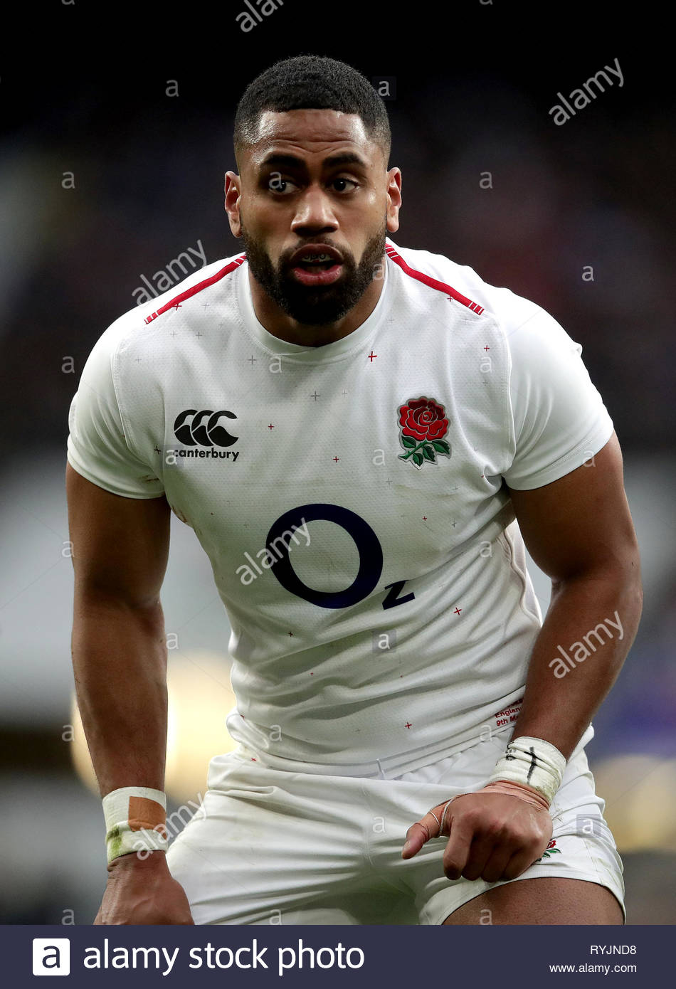 File photo dated 09-03-2019 of England's Joe Cokanasiga. England have dropped Joe Cokanasiga from their matchday 23 for Saturday's Guinness Six Nations match against Scotland at Twickenham, with Jack Nowell starting on the right wing, the Rugby Football Union has announced. - Stock Image