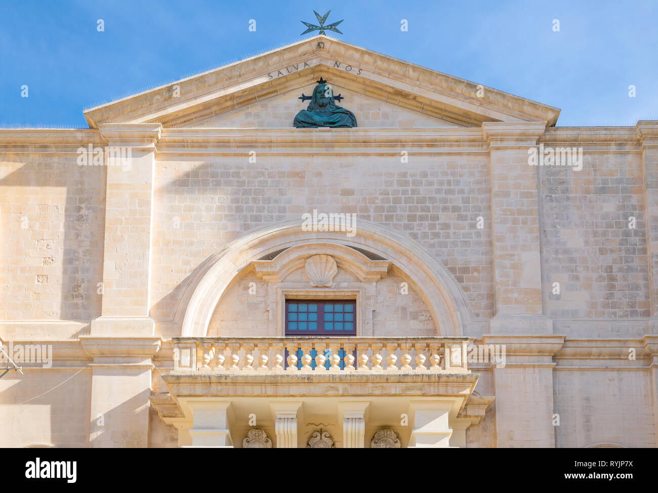 Malta, Valletta, the facade of the St John Cathedral,detail of the portal - Stock Image