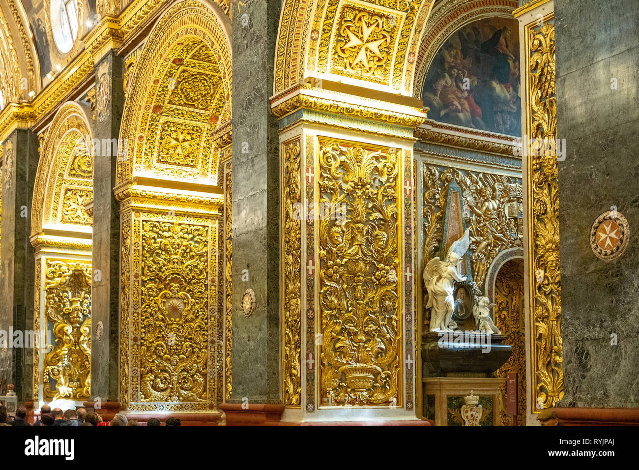 Malta, Valletta, The golden decorations of the nave of St John Cathedral - Stock Image