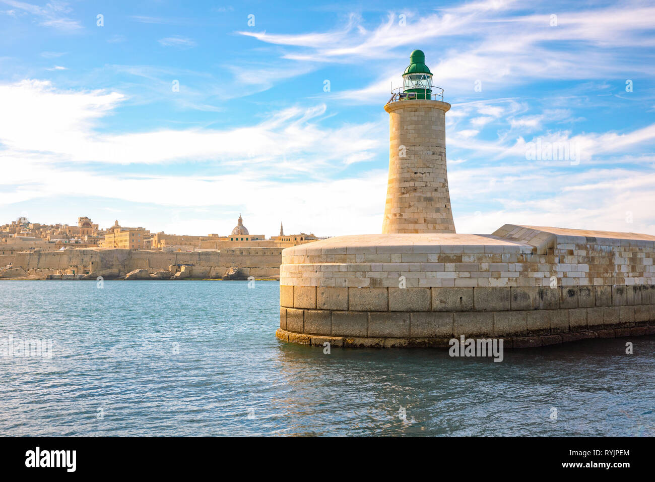 Malta, Valletta, view from the sea of the lighthouse of the St Elmo fort Stock Photo