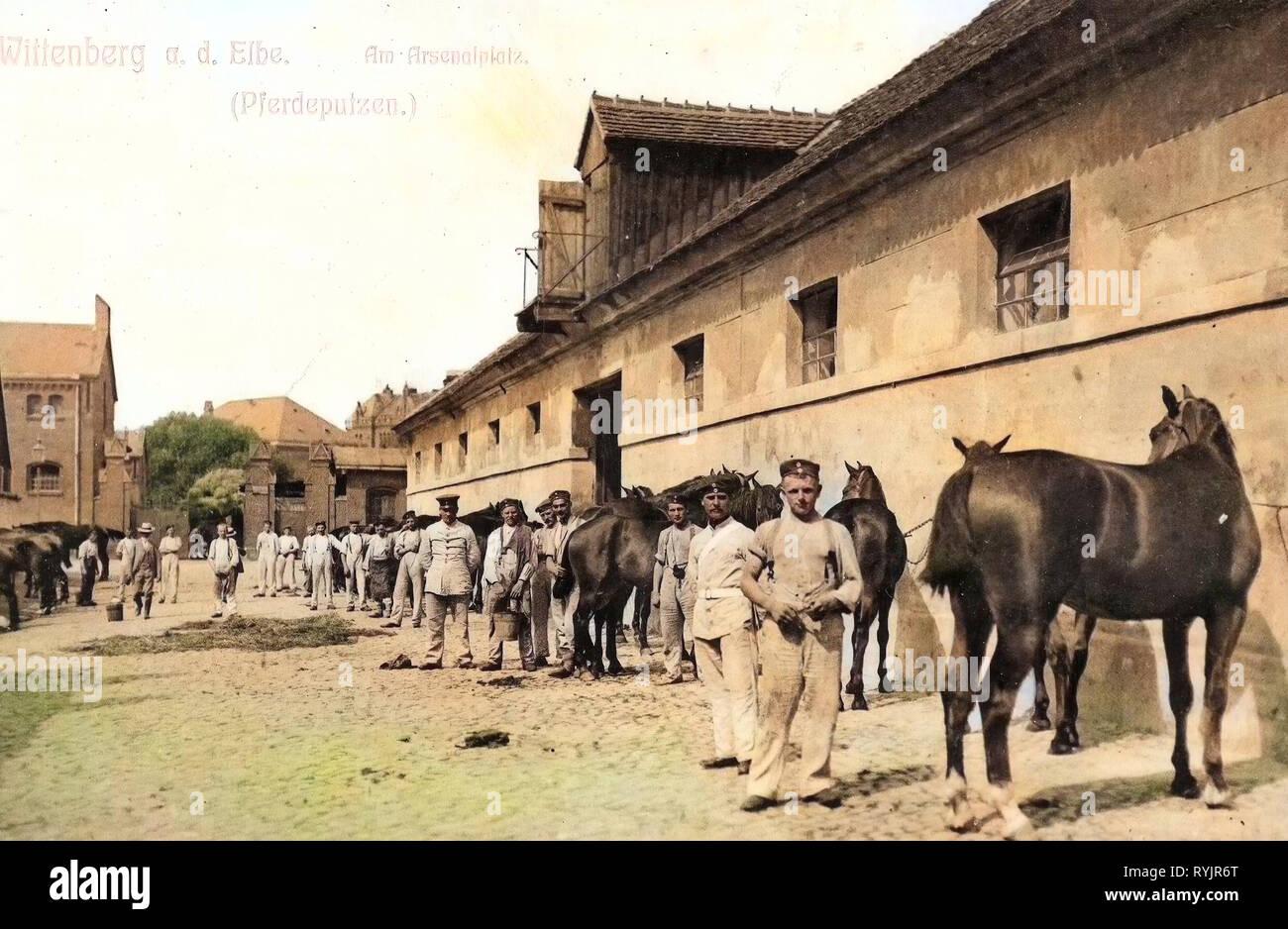 Arsenals in Germany, Military facilities of Germany, Military use of horses, Military in Germany, Streets in Wittenberg, 1911, Saxony-Anhalt, Wittenberg, Am Arsenalplatz - Stock Image