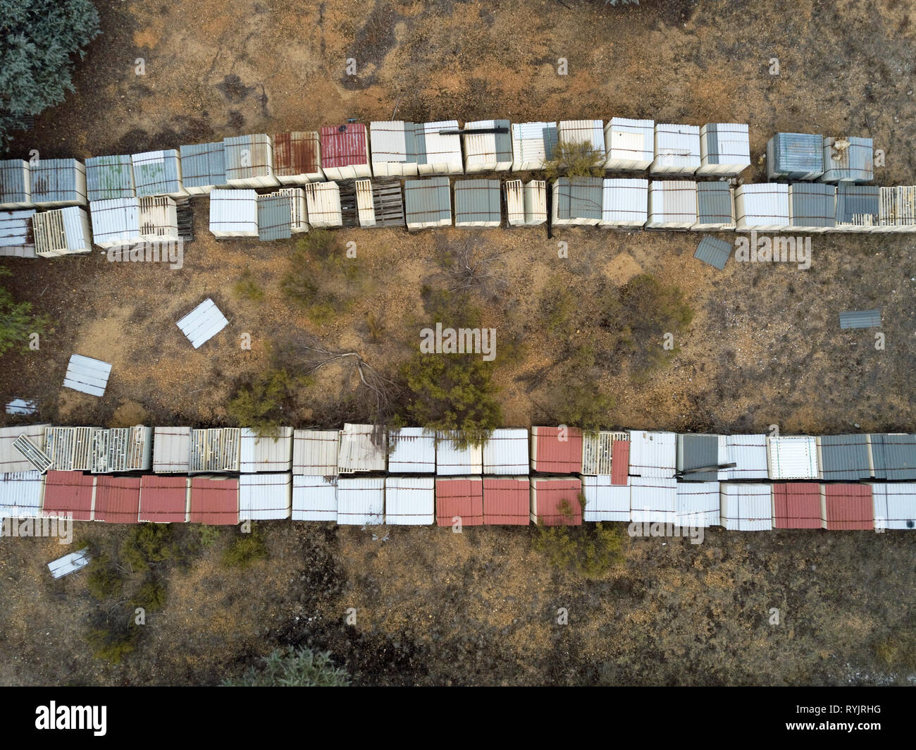 Abandoned industrial gold mine environment and historic mining facility captured with aerial photography in Victoria, Australia. - Stock Image