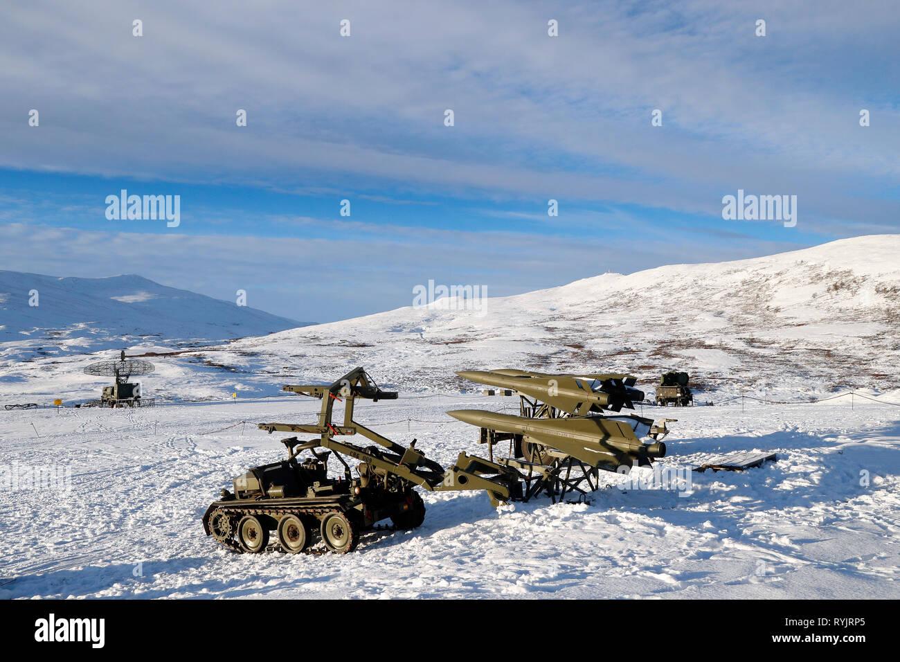 DovrefjellÐSunndalsfjella National Park.  NATO military base.  Surface-to-air missile. Norway. - Stock Image