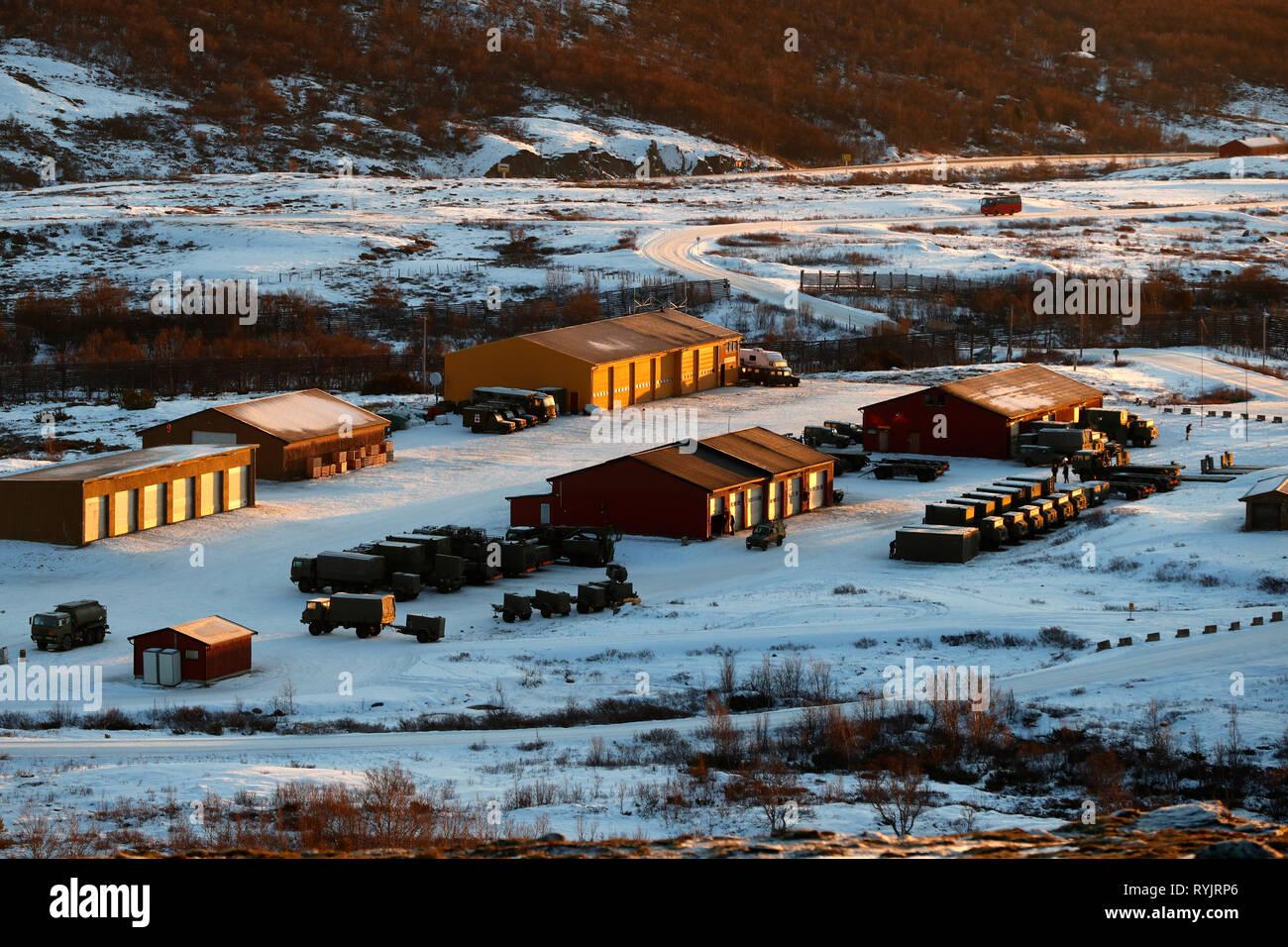 DovrefjellÐSunndalsfjella National Park.  NATO military base.  Norway. - Stock Image