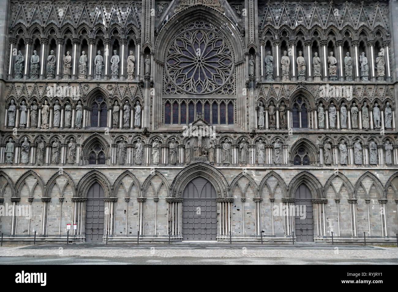 Nidaros Cathedral.  West front.  Trondheim. Norway. Stock Photo