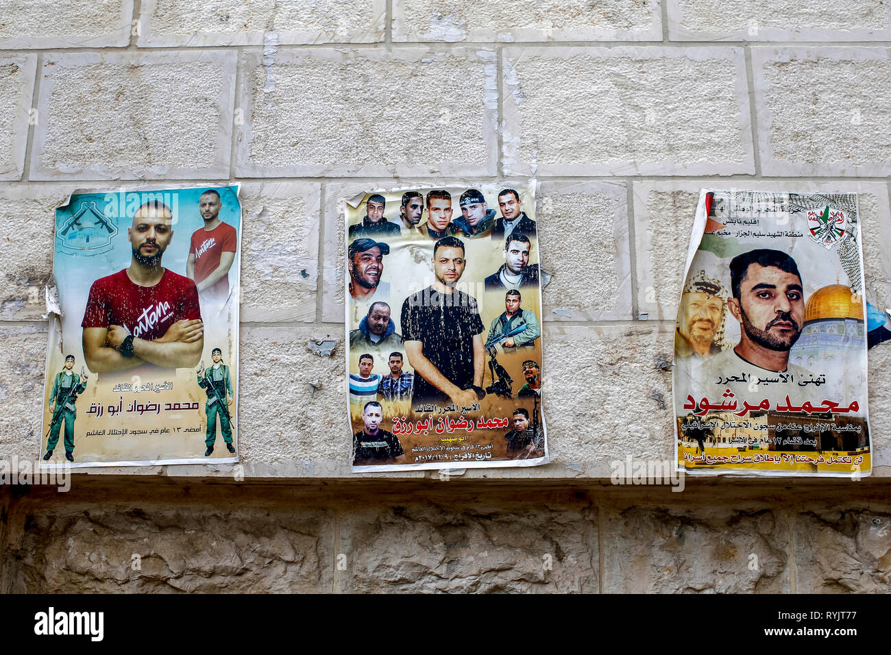 Posters honouring shaheeds (Palestinian freedom fighters) in Nablus, West Bank, Palestine. - Stock Image