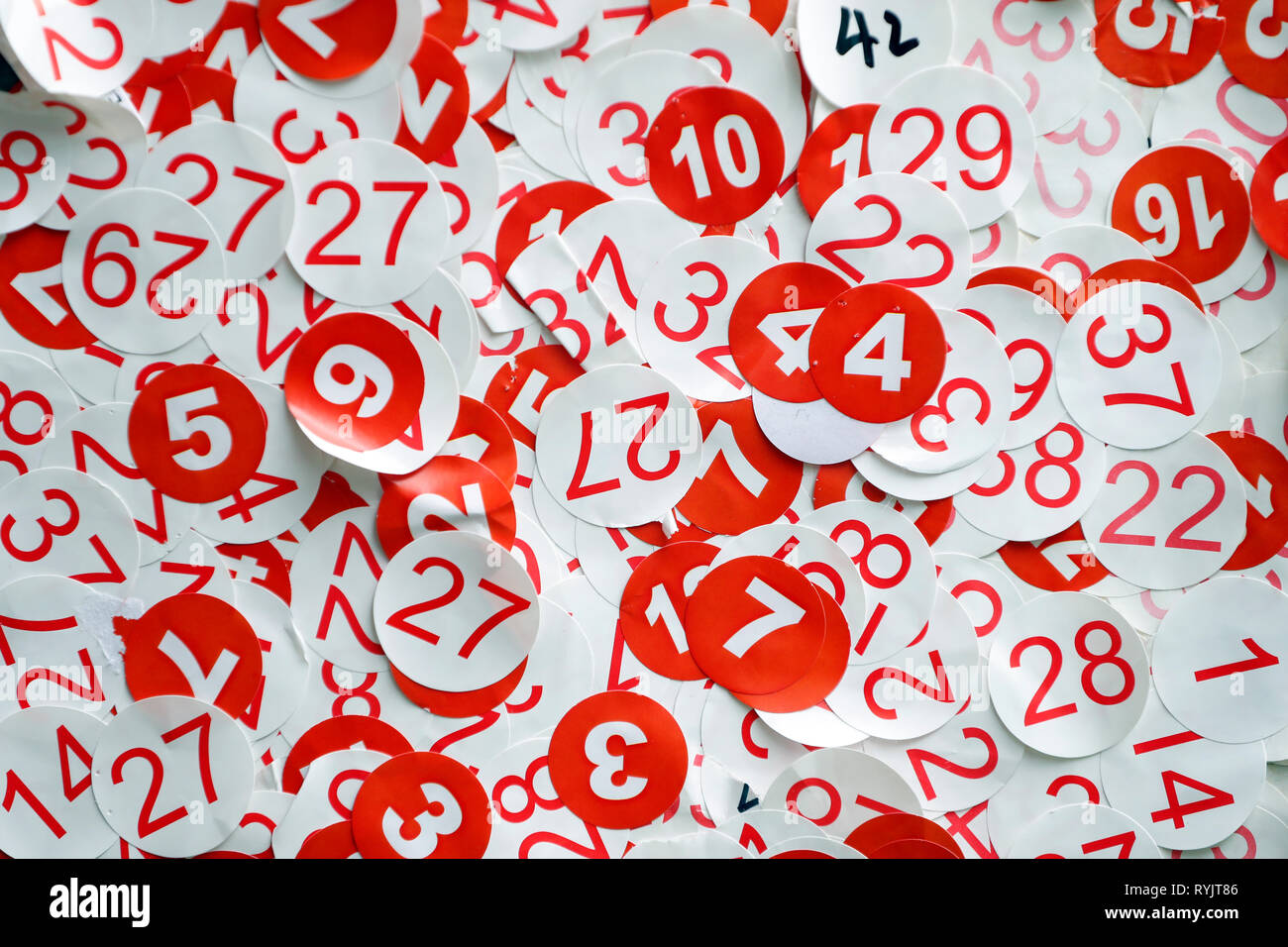 Stickers. Numbers.  Singapore. - Stock Image