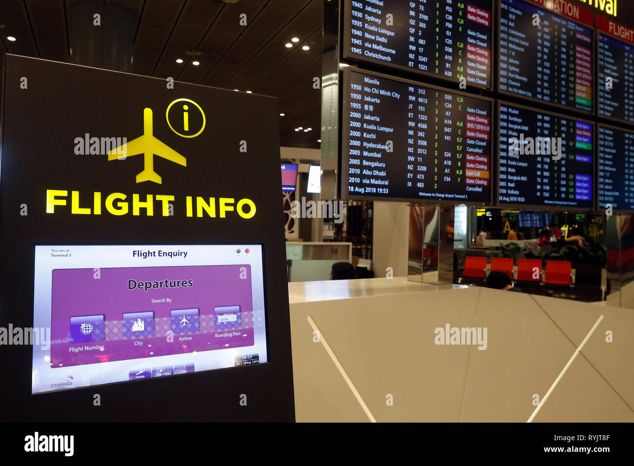 Changi airport  Flight info  Singapore Stock Photo