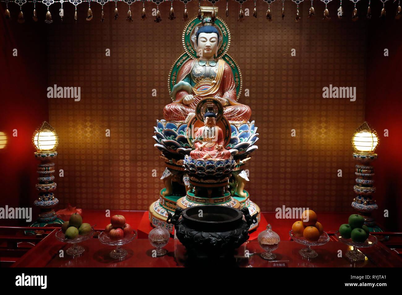 Buddha Tooth Relic Temple in Chinatown. Wisdom Bodhisattva Manjushri.  Singapore. - Stock Image