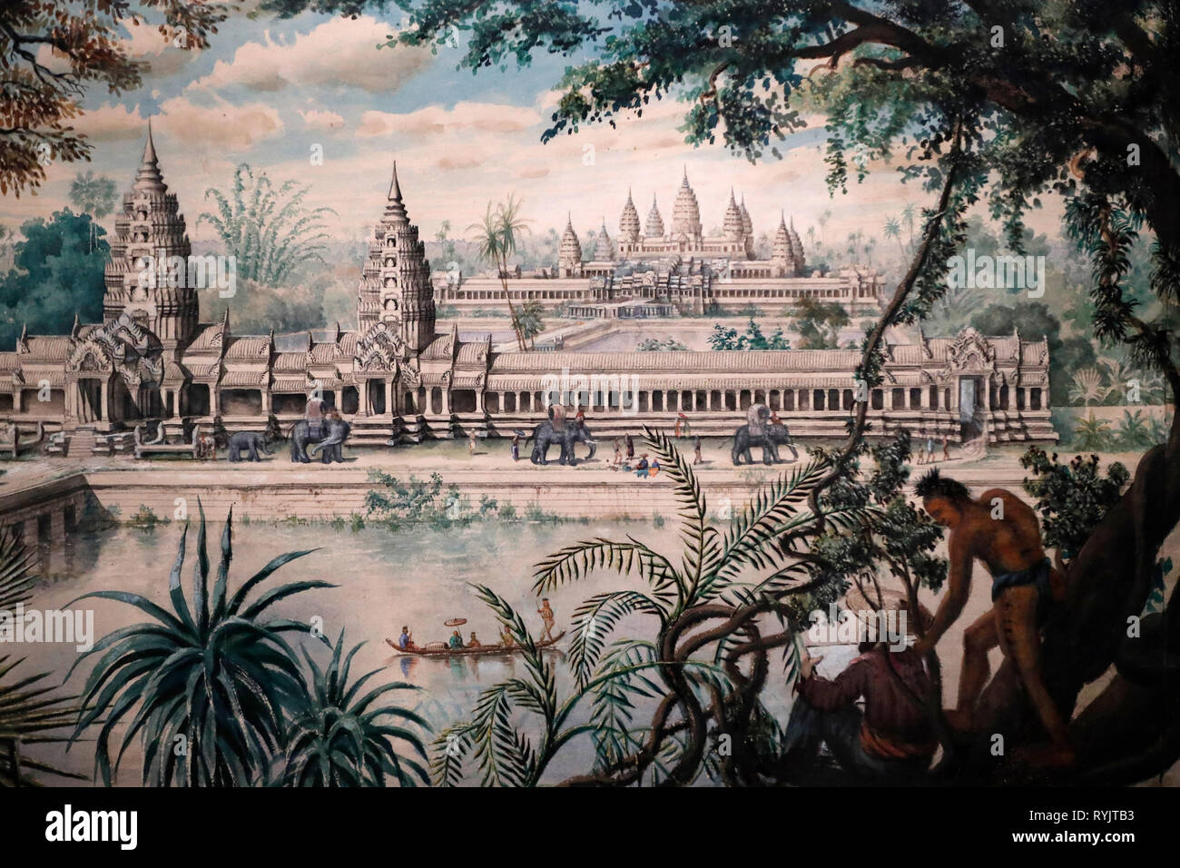 Asian Civilisations Museum. Angkor. Exploring Cambodia's sacred city.   View of Angkor Wat by Louis Delaporte around 1870-73. Singapore. - Stock Image