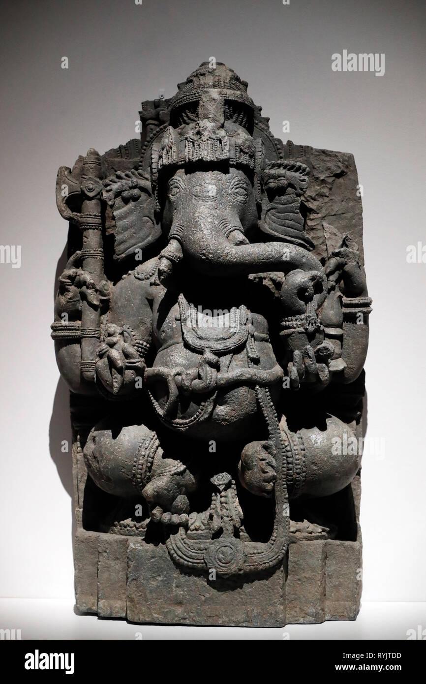 Asian Civilisations Museum. Ganesha. India. 12th century.  Singapore. - Stock Image