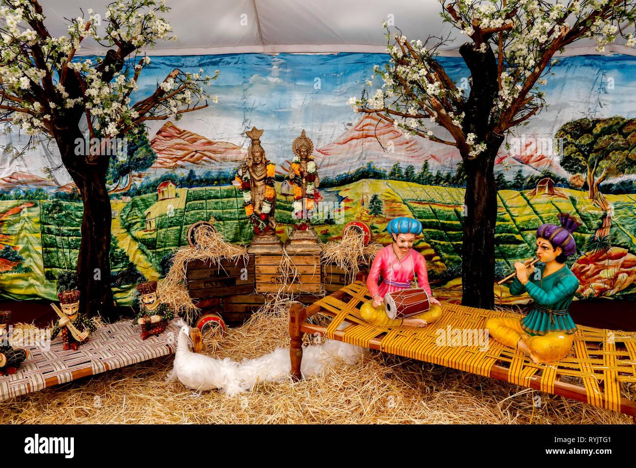 Janmashtami festival at Bhaktivedanta Manor, Watford, U.K. Statues in the guests' tent. - Stock Image