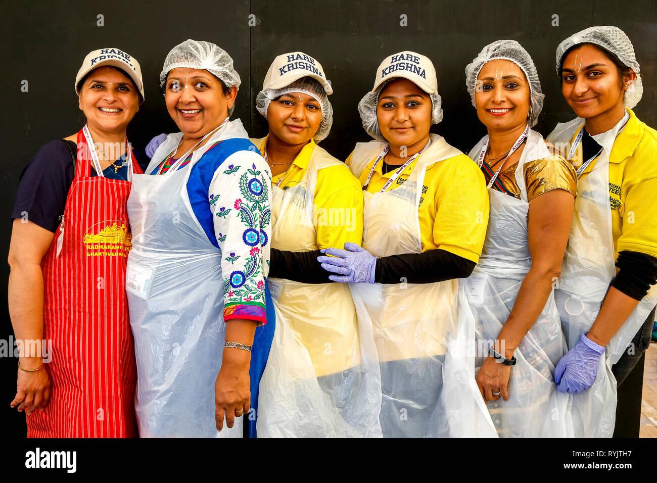 Volunteers at Janmashtami hindu festival, Watford, U.K. - Stock Image