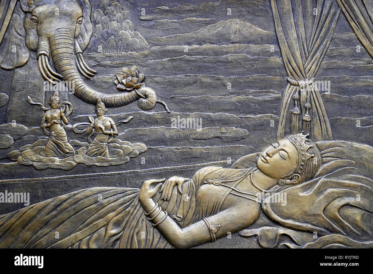 Tinh Xa Ngoc Chau Buddhist temple. The Life of the Buddha, Siddhartha Gautama. BuddhaÕs Mother Maya dreams about the White Elephant entering her womb. - Stock Image