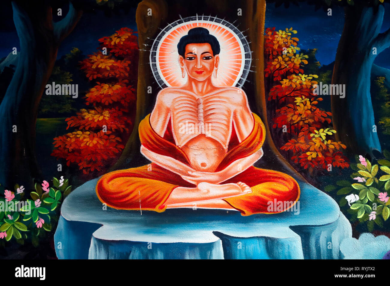 The Life of the Buddha, Siddhartha Gautama.  The ascetic Bodhisattva spent six years practising austerity and meditation with steadfastness as well as - Stock Image