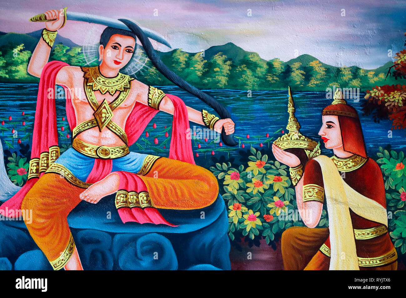 The Life of the Buddha, Siddhartha Gautama.  Prince Siddhartha cut off his hair to renounce the worldly life at the bank of the Anoma River.  Soc Po L - Stock Image