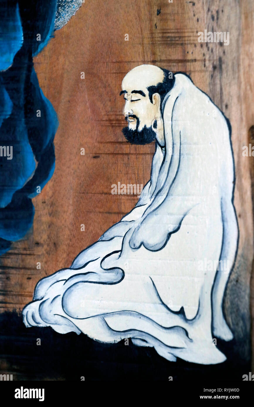 Bodhidharma (5th - 6th century ) was a Indian Buddhist monk, and is traditionally credited as the transmitter of Zen. Can Tho. Vietnam. Stock Photo