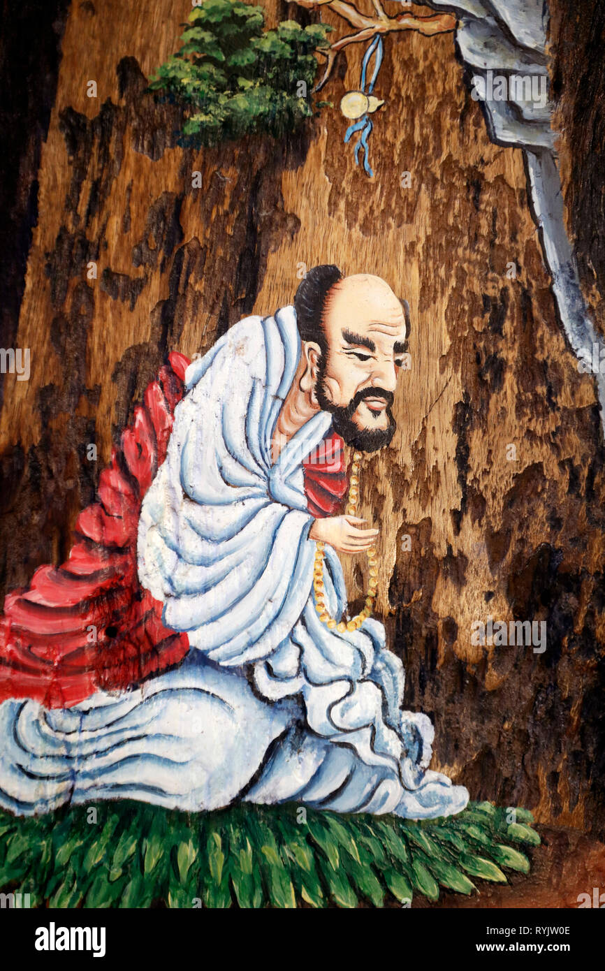 Bodhidharma (5th - 6th century ) was a Indian Buddhist monk, and is traditionally credited as the transmitter of Zen. Can Tho. Vietnam. - Stock Image