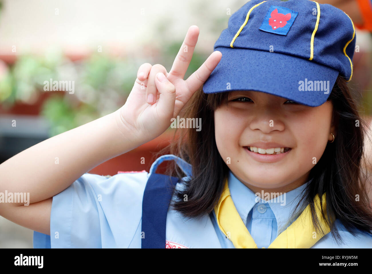 Scout movement. Young girl.  Can Tho. Vietnam. - Stock Image