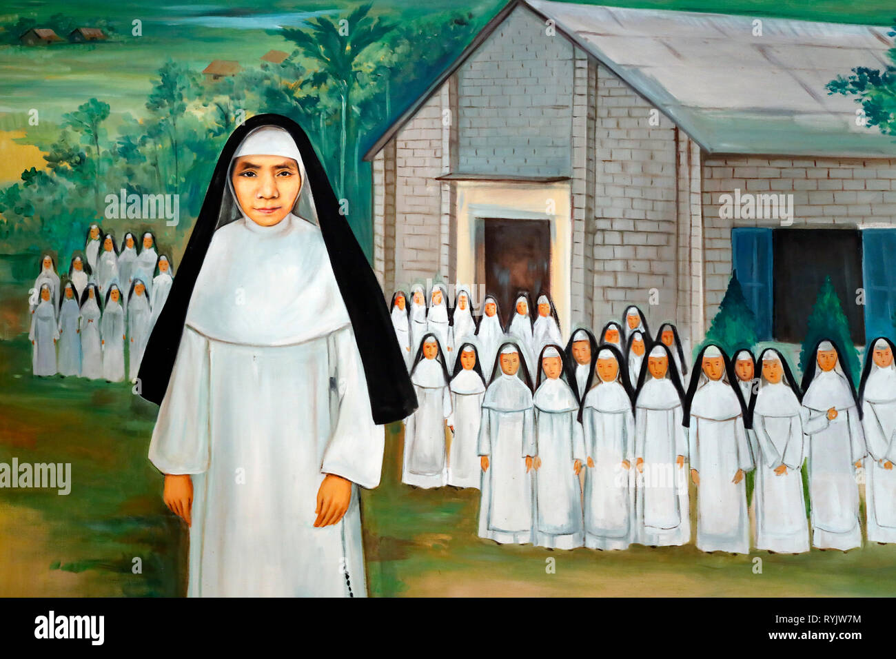 Dominican community of Bien Hoa.  Domincian Sisters in North Vietnam. Painting.  Vietnam. - Stock Image