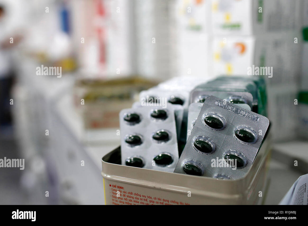 Hospital pharmacy.  Drugs blister packs.  Ho Chi Minh City. Vietnam. - Stock Image