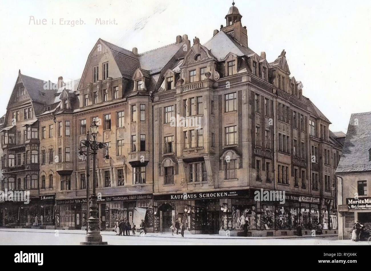 Department stores in Saxony, Buildings in Aue, 1911, Erzgebirgskreis, Aue, Markt, Germany - Stock Image