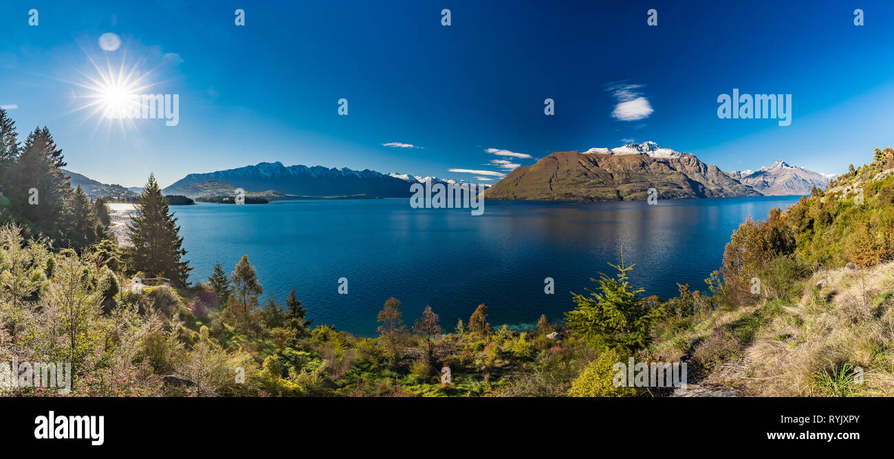 Panoramic view of The remarkables, Lake Wakatipu and Queenstown, South Island, New Zealand - Stock Image