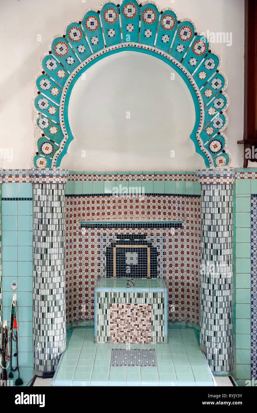 Mubarak mosque. Prayer hall with minbar.  Chau Doc. Vietnam. - Stock Image