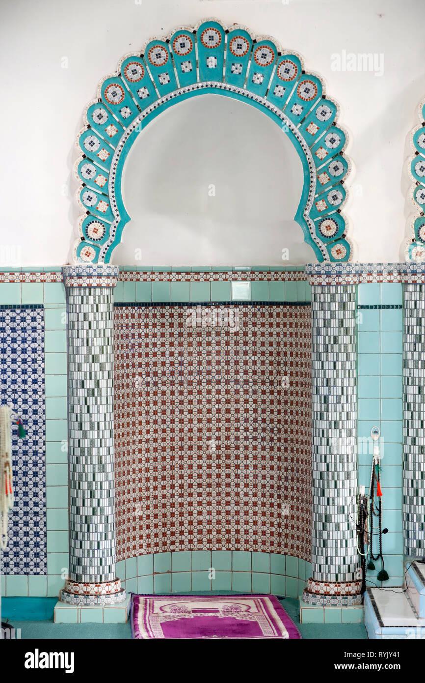 Mubarak mosque.  Prayer hall with mihrab. Chau Doc. Vietnam. - Stock Image