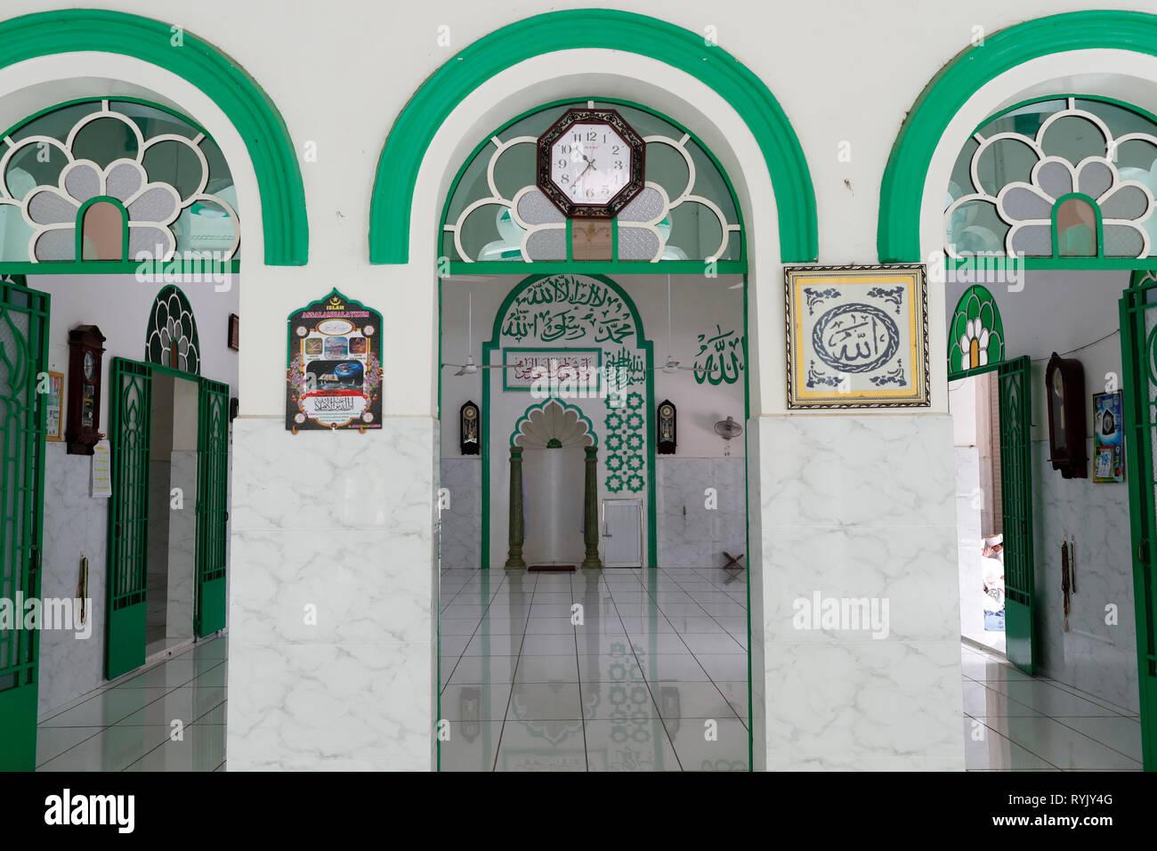 Jamiul Azhar mosque.  Prayer hall with mihrab. Chau Doc. Vietnam. - Stock Image