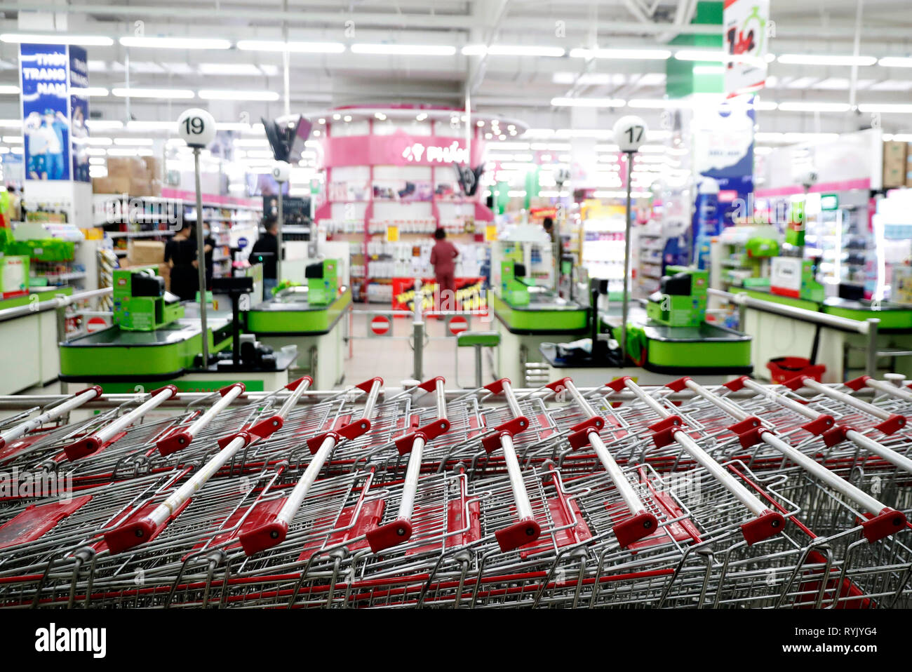 Carts at supermaket.  Dalat. Vietnam. - Stock Image