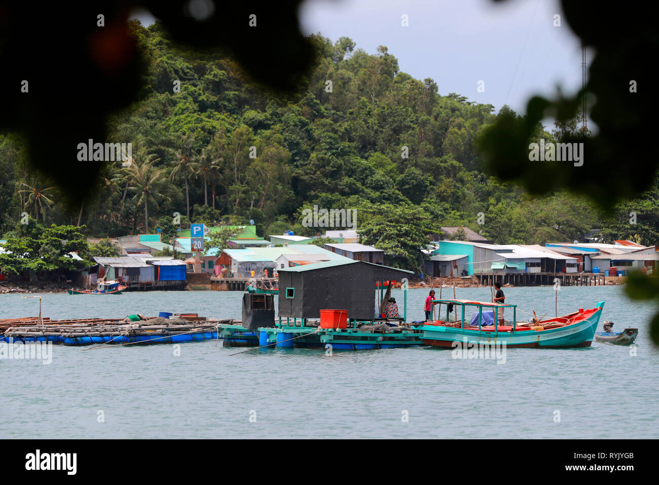 Fish farm in South China Sea.  Ha Tien. Vietnam. - Stock Image