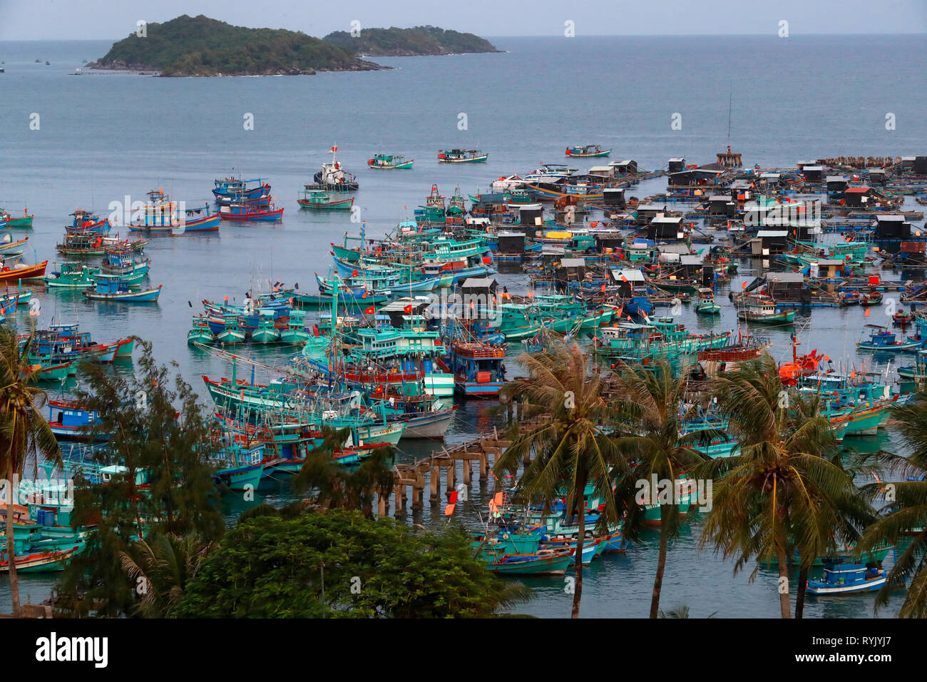 An Thoi harbour. Fisher boats. Vietnam. - Stock Image