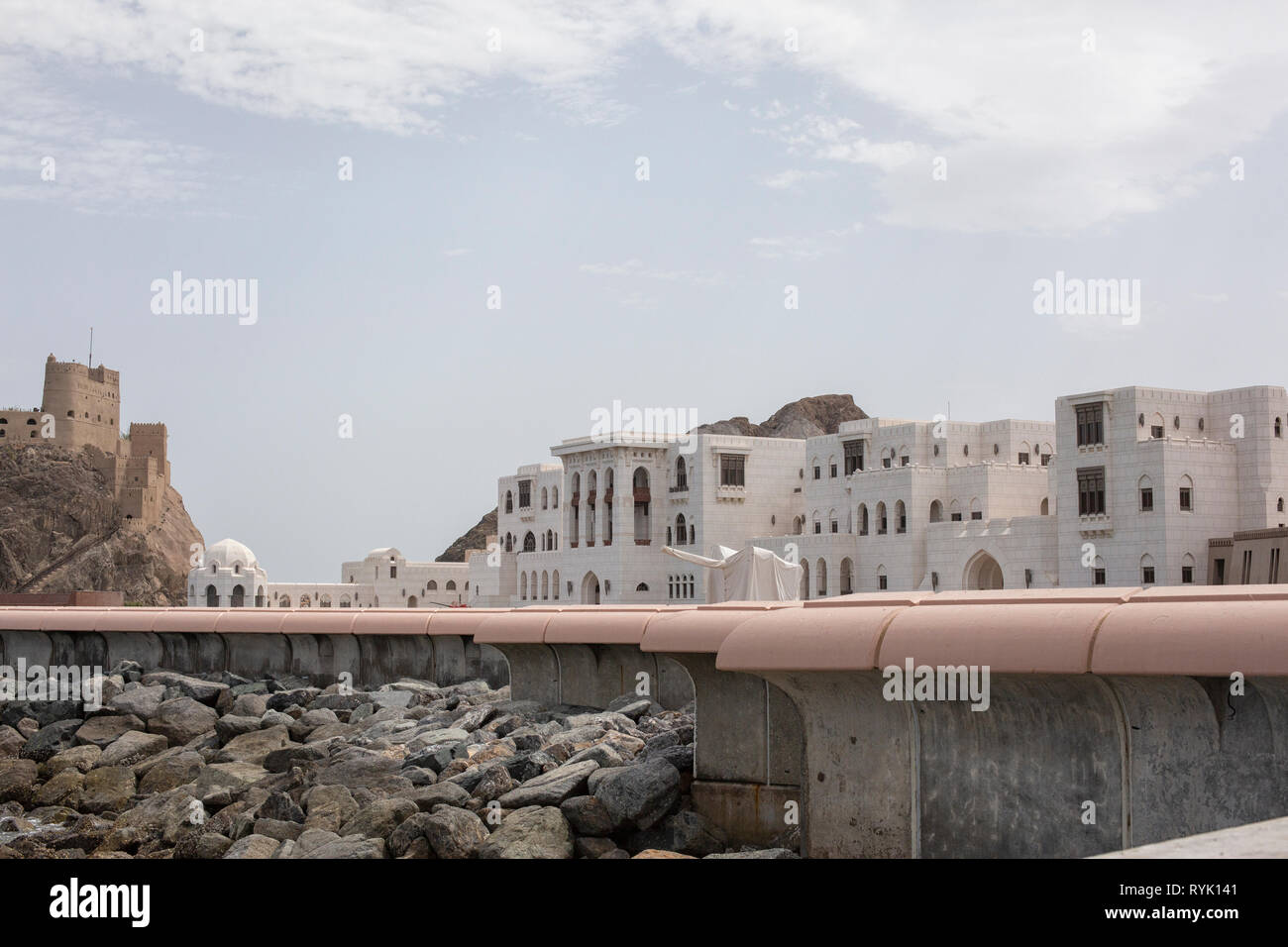 Sultan's palace and the portuguese fort, dating 17th century in old Muscat Stock Photo