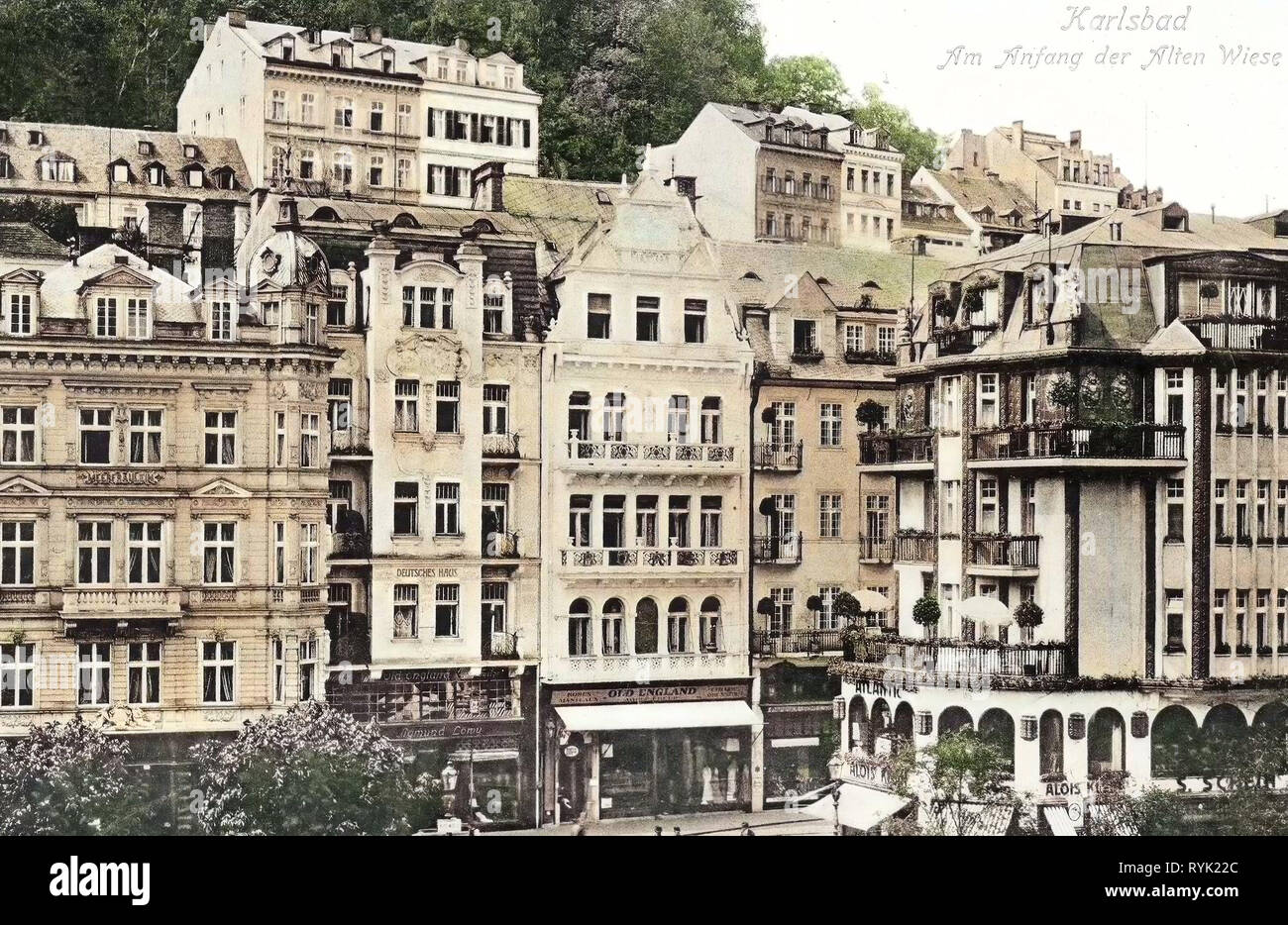 Buildings in Karlovy Vary, 1913, Karlovy Vary Region, Karlsbad, Alte Wiese, Czech Republic - Stock Image