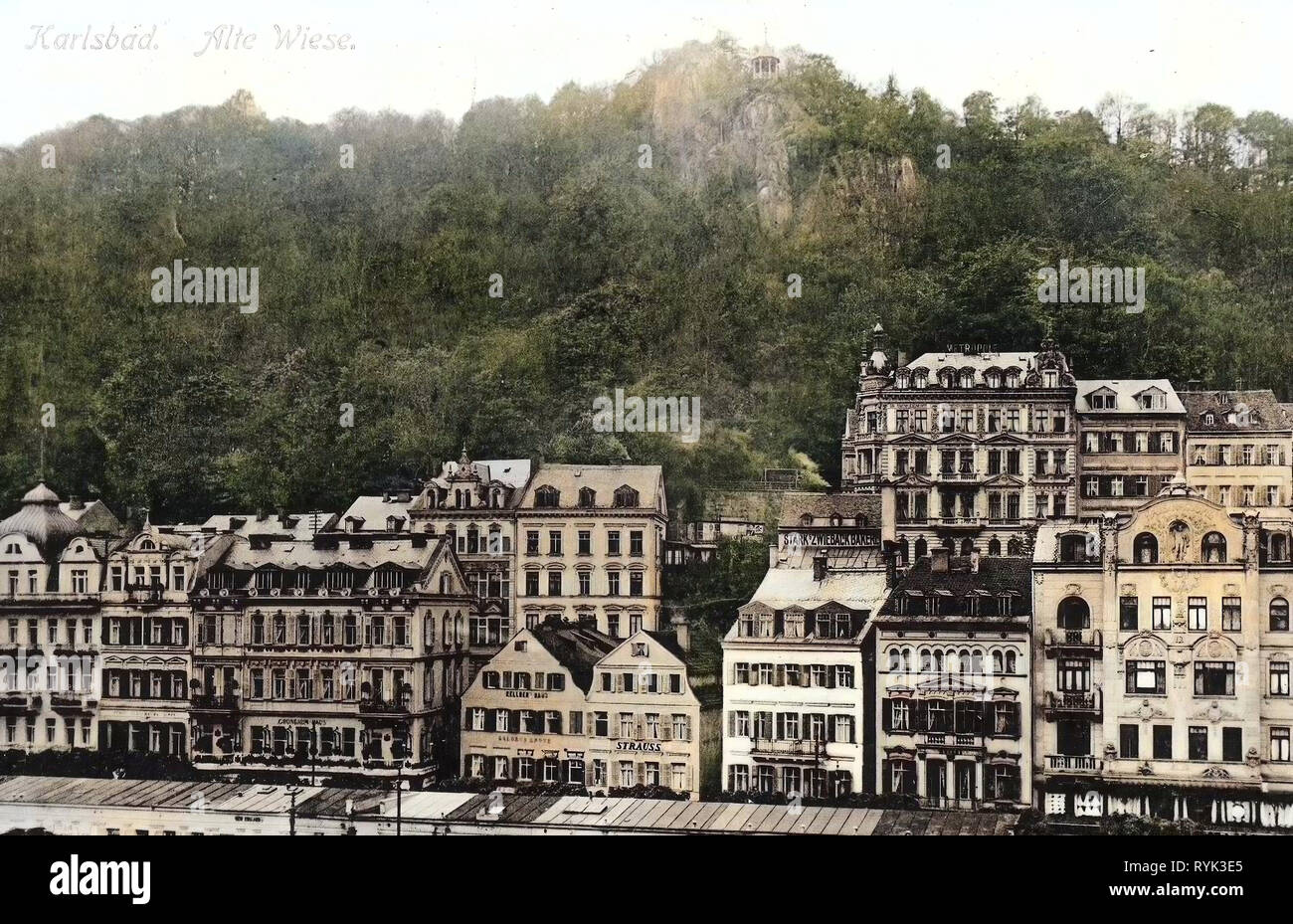 Buildings in Karlovy Vary, 1914, Karlovy Vary Region, Karlsbad, Alte Wiese, Czech Republic - Stock Image